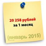 20258 рублей за 1 месяц (итоги за январь 2015)